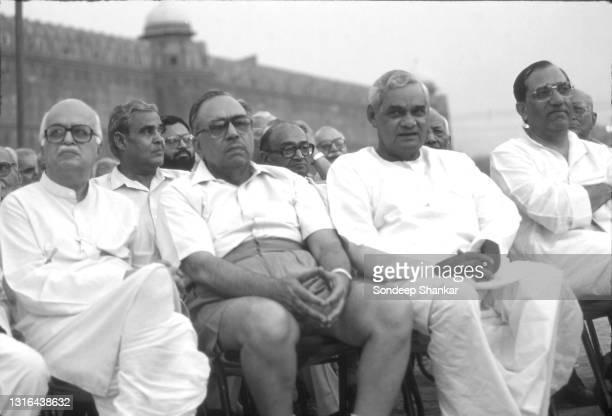 Advani, Kedar Nath Sahney, Atal Bihari Vajpayee and Vijay Kumar Malhotra at a RSS Rally at Red Fort Grounds, 1977.