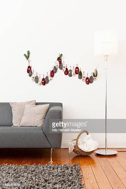 Advent calendar on living room wall