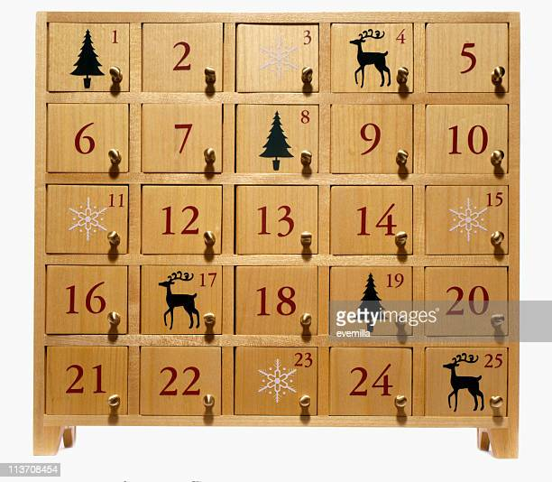 advent calendar on white - advent calendar stock photos and pictures