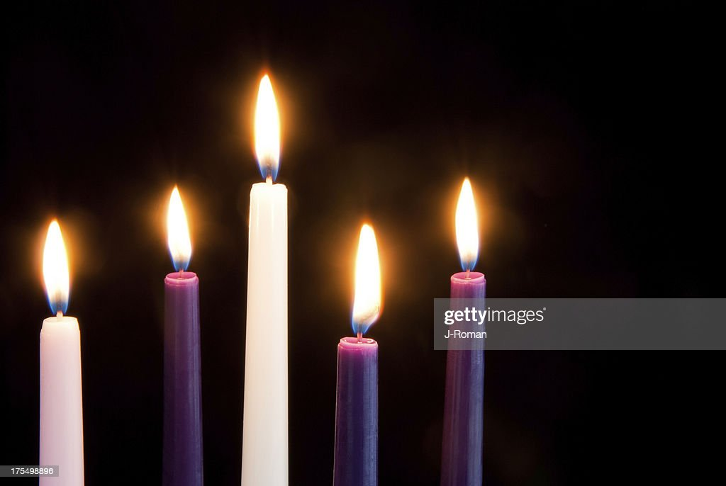 Advent Candles on Black : Stock Photo