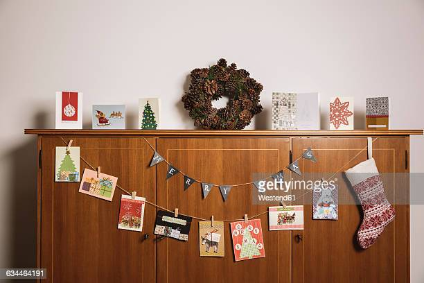 Advent decoration on cabinet in living room