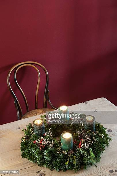 Advent wreath on wooden table