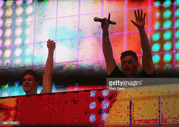 Adventure Club performs onstage during day 3 of the 2014 Coachella Valley Music Arts Festival at the Empire Polo Club on April 13 2014 in Indio...