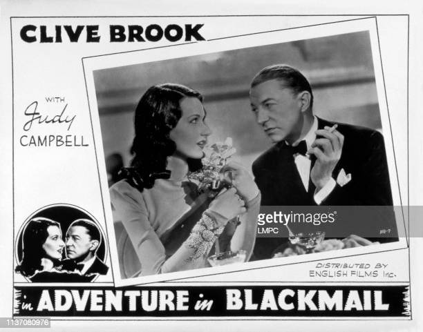 Adventure In Blackmail, lobbycard, from left: Judy Campbell, Clive Brook, 1942.