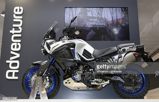 Adventure model XT1200Z Worldcrosser is displayed at YAMAHA booth during the EICMA 2014 72nd International Motorcycle Exhibition at Fiera Milano on...