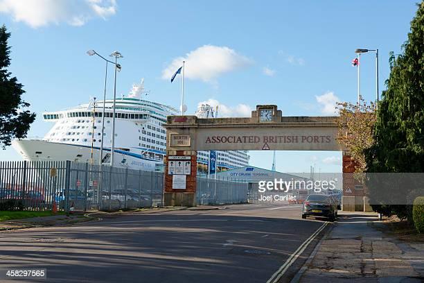 adventure of the seas at southampton cruise terminal - southampton england stock photos and pictures
