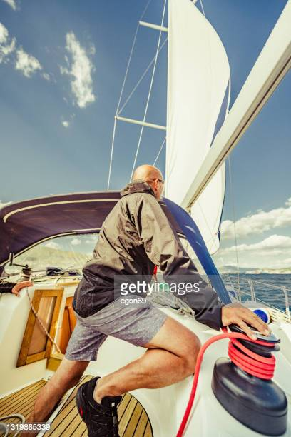 adventure on the sailing boat - sailor suit stock pictures, royalty-free photos & images