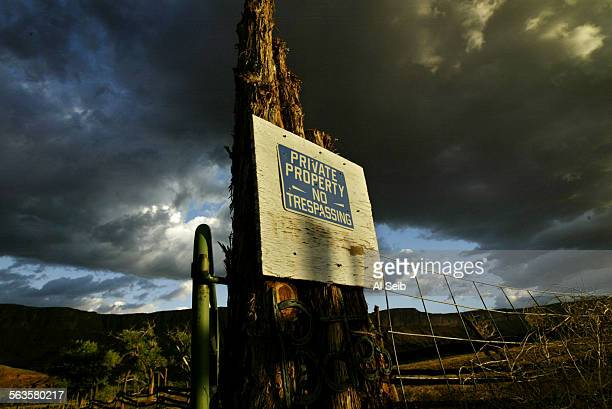 MOAB UTAH Adventure race in utah Sign of no tresspassing that warns visitors at the entrance to a ranch owned by Harley Bates in Castle Valley that...