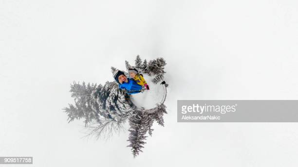 adventure selfie - little planet format stock photos and pictures