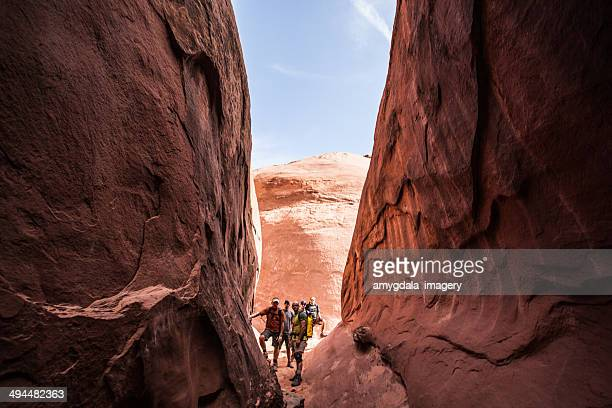 adventure team - slot canyon stock pictures, royalty-free photos & images