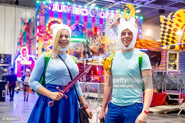 Adventure Time cosplayers on day 2 of the MCM London Comic Con at ExCel on October 29 2016 in London England