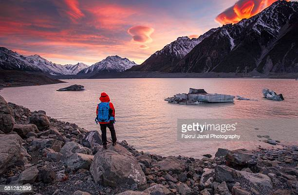 Adventurer in Tasman Glacier Lake, Mount Cook