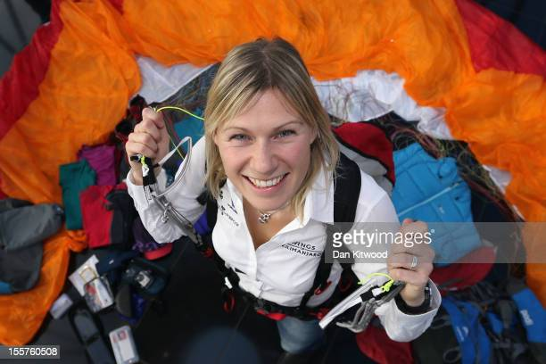 Adventurer Squash Falconer poses with her paraglider and full kit during the Launch of the 'Wings Of Kilimanjaro' charity appeal at the top of 30 St...