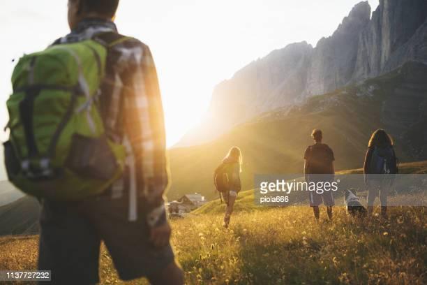 adventures on the dolomites: teenagers hiking with dog - attività foto e immagini stock