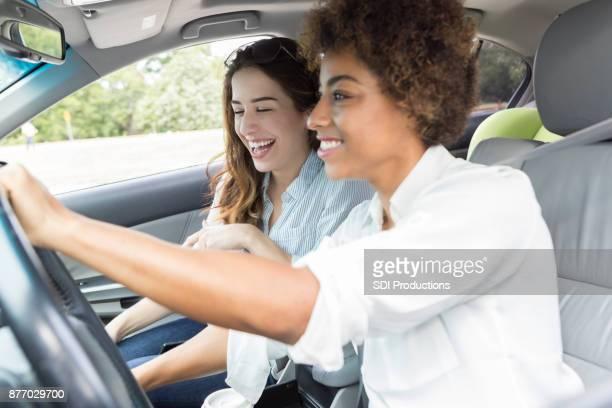 Adventurous female friends road trip together