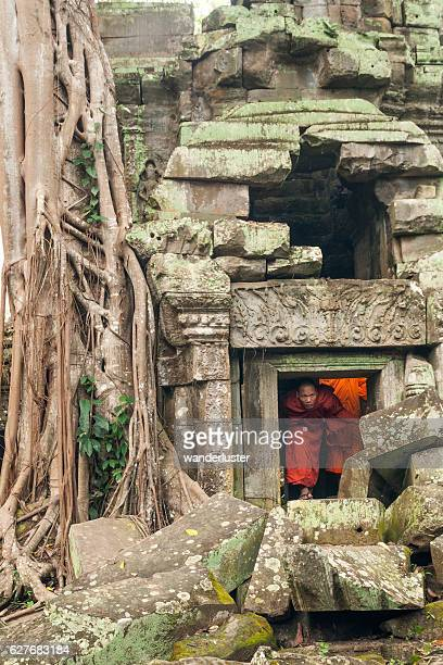 Adventurous monk exploring ruins