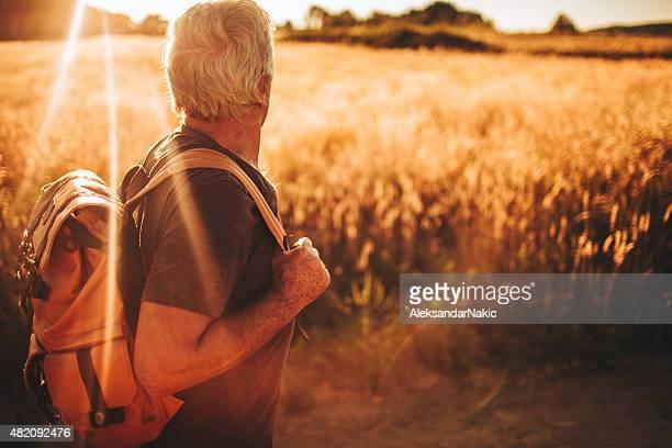 Adventurous senior man