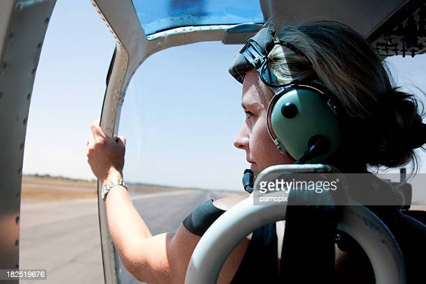 Adventurous Woman in Helicopter