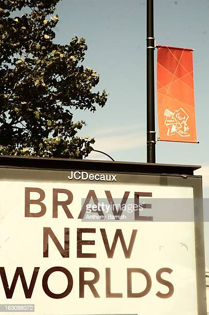 "Advert and London 2012 banner in Sheffield taken in 2012. Advert text says ""Brave New Worlds"""