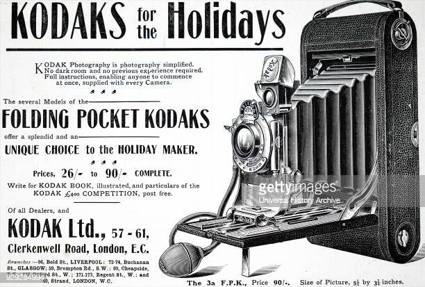 Advert for a Kodak Box Camera which used Eastman negative film roll. George Eastman an American entrepreneur who founded Eastman Kodak Company. Dated...