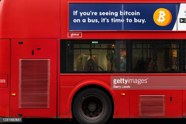 Advert for Bitcoin on a bus in the capital's West End during the third lockdown of the Coronavirus pandemic, on 3rd March 2021, in London, United...