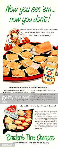 advert for Borden's cheese published in american magazine 50's