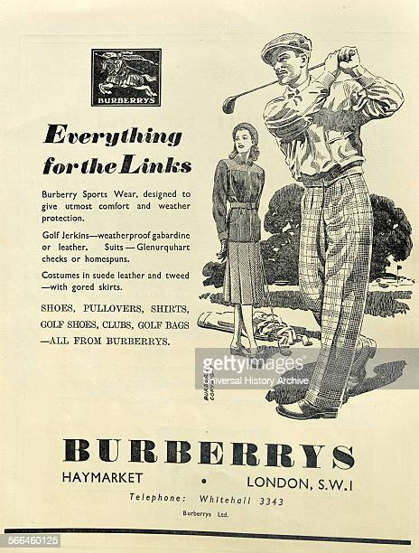Advert for Burberry sport clothes showing a man and woman at golf 1948