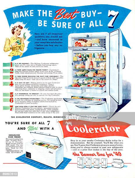 advert for Coolerator fridge and freezer published in american magazine in 1949