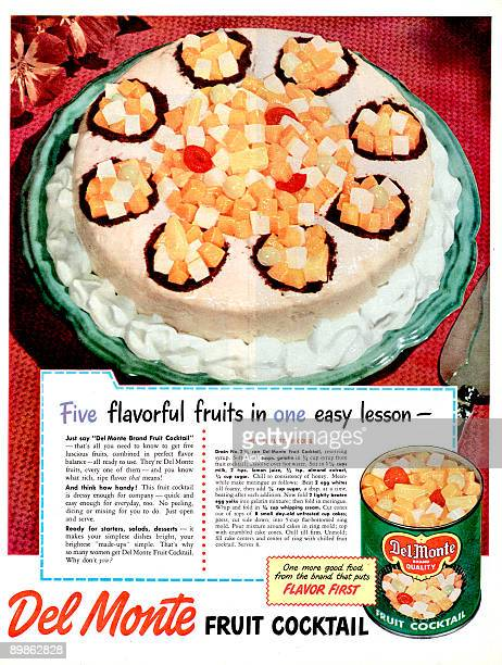 advert for DelMonte canned fruits published in american magazine in 19481949