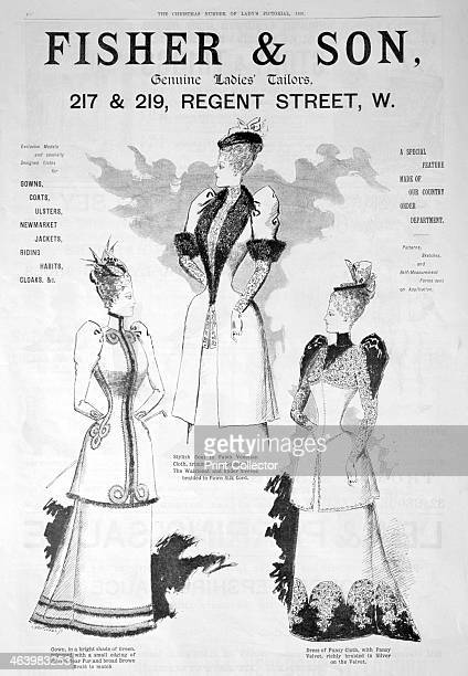Advert for Fisher and Son ladies' fashion 1891 A print from the Lady's Pictorial Christmas number 1891