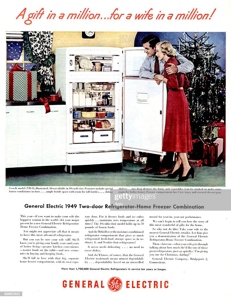 advert for General Electric fridge and freezer , published