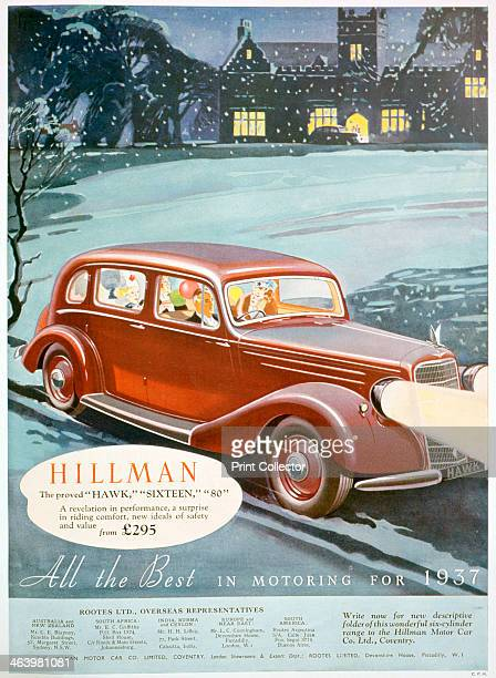 Advert for Hillman motor cars 1936 A print from The Sketch Christmas 1936