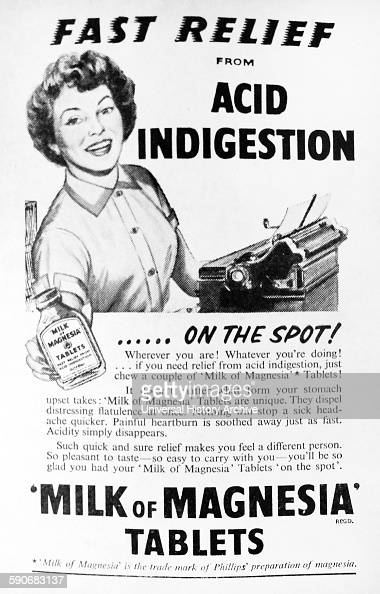 Advert for indigestion medicine 'Milk of Magnesia' 1935  News Photo
