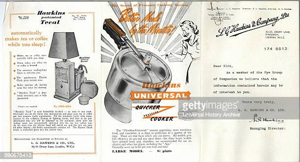 Advert for LG Hawkins Company Ltd Products including a combined alarm clock lamp and coffee machine known as a tecal and a quick pressure cooker...
