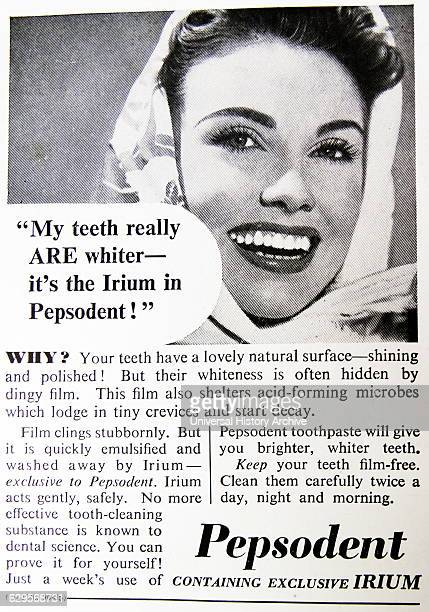 Advert for pepsodent toothpaste England 1950