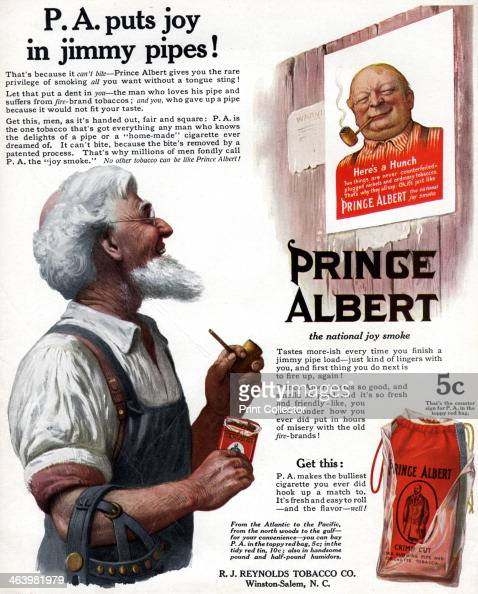 Advert for Prince Albert pipe tobacco, 1913  A print from