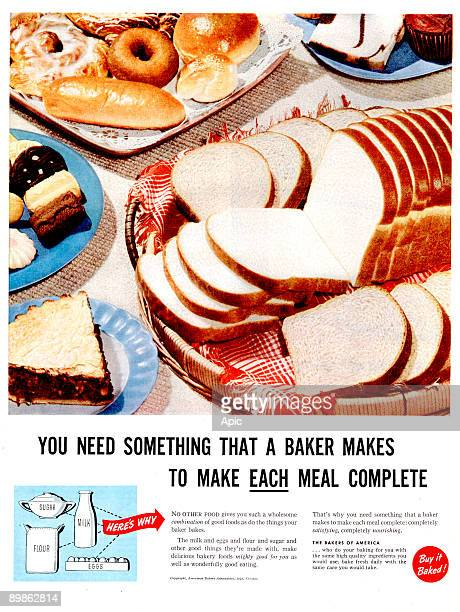 advert forThe Bakers of America buns published in american magazine in 1949