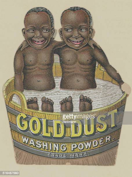 Advertiement for Fairbank's Gold Dust Washing Powder showing the Gold Dust Twins sitting in a wadh tub Undated illustration