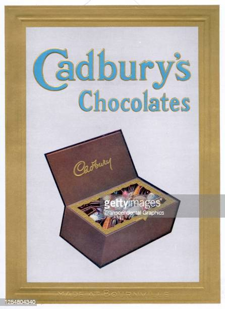 Advertisement features a sampler box Cadbury's Chocolates, England, 1908.
