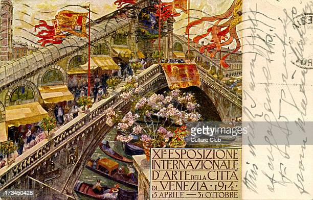 Advertisement for 11th International Art Exhibition Venice 1914 15 April 31 October Depicts Venetian canals and gondolas and stalls exhibiting art