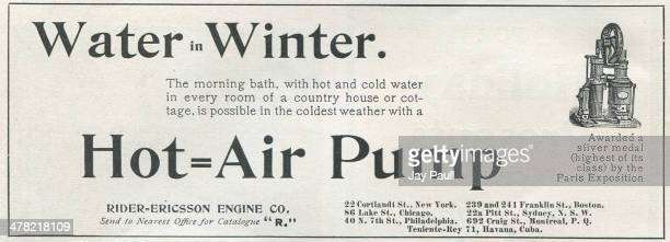 Advertisement for a hot air water pump by the RiderEricsson Engine Company New York 1900