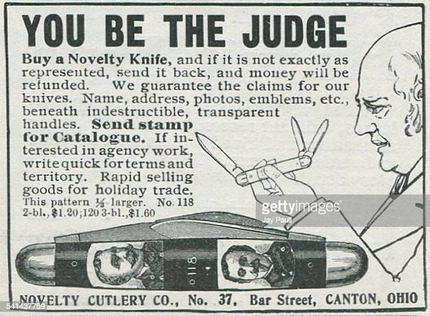 Advertisement for a novelty pen knife by the Novelty Cutlery Company in Canton Ohio 1901