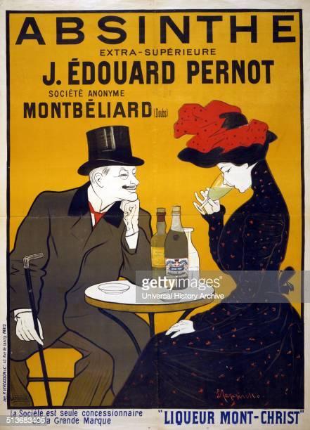 Advertisement for Absinthe extrasupérieure J Édouard Pernot Société Anonyme Montbéliard Liqueur MontChrist Poster showing a man and woman at a cafe...