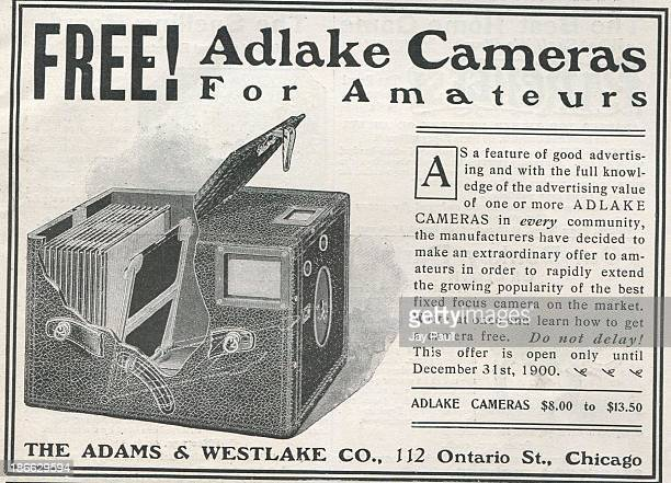 Advertisement for Adlake Cameras by The Adams & Westlake Company in Chicago, Illinois, 1900.