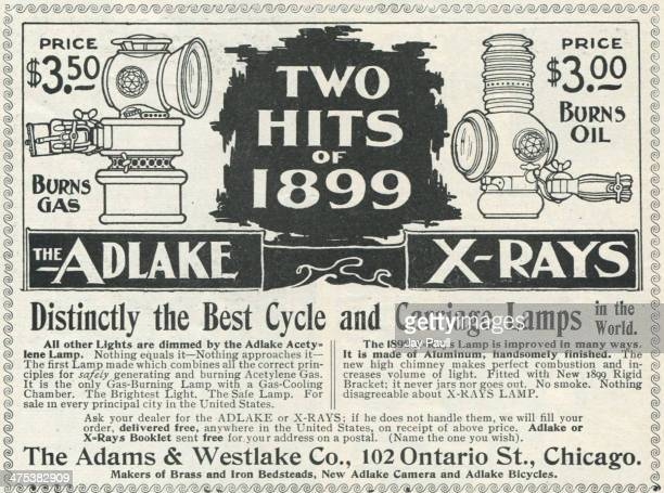 Advertisement for Adlake gas and oil bicycle and carriage lamps by The Adams Westlake Company in Chicago Illinois 1899