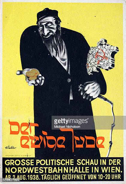 Advertisement for antiSemitic advertisement exhibition in Vienna in August 1938 A caricature jew is depicted gold coins in one hand with a cutout...