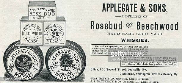 Advertisement for Applegate and Sons Rosebud and Beechwood Whiskies The company is based in Louisville Kentucky 1890