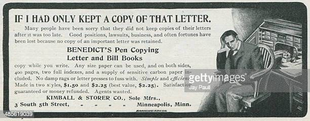 Advertisement for Benedict's pen copying letter and bill books by the Kimball and Storer Company Minneapolis Minnesota 1901