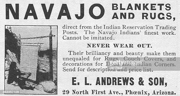 Advertisement for blankets and rugs made by Navajo Indians by EL Andrews and Son Phoenix Arizona 1902