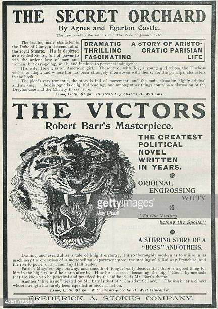 Advertisement for books including The Victors by Robert Barr and The Secret Orchard by Agnes and Egerton Castle published by the Frederick A Stokes...